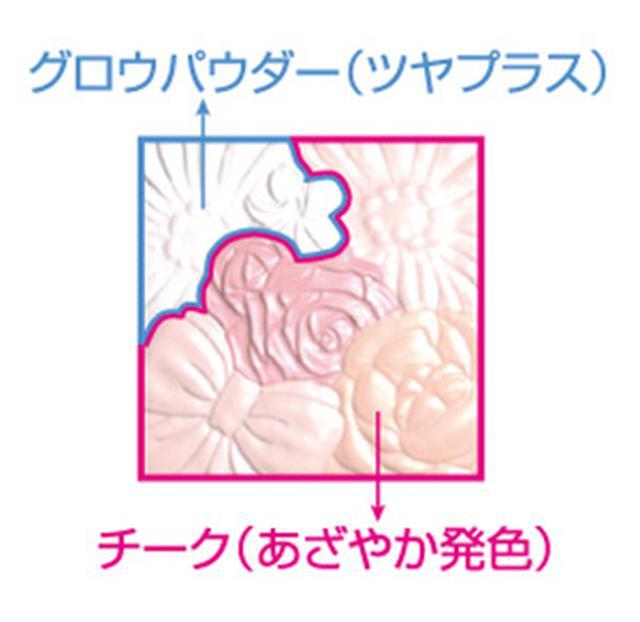 画像: チークの部分をブラシで2~3回、円を描くようにクルクルと混ぜ、最後の仕上げに、ツヤを出したい部分(頬の高い部分など)にグロウパウダーをON!