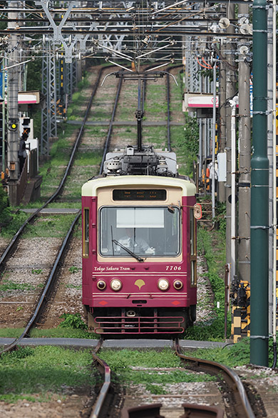 画像: 約400メートル続く真っすぐな坂。その軌道を走る電車を超望遠で撮影。坂の奥行きが伝わる印象的な風景になった。