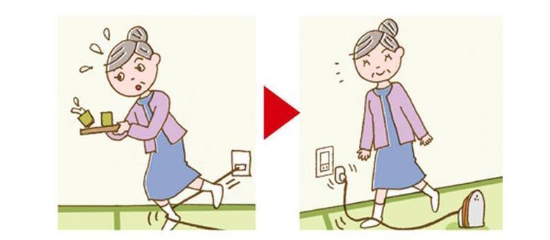 画像: 足を引っ掛けてもポロリと外れる仕様なので、よろけて転んだり、怪我をしたりする心配がない。高齢者には特に安心