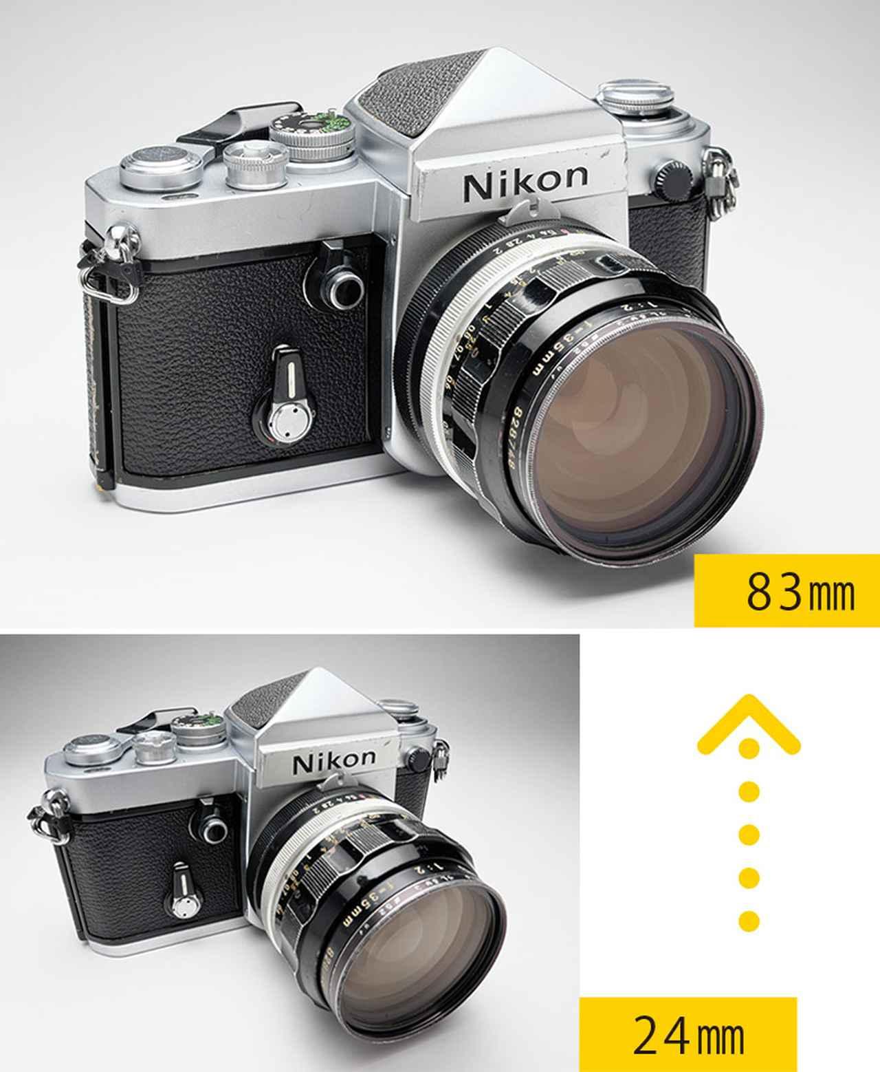 画像: 24ミリ相当で撮影したもの(写真下)は、レンズの特性で、形が歪んで写る。 写真上のように83ミリ相当で撮ると、自然な形になった。