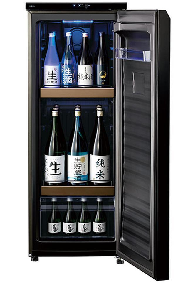 画像: 家庭向けの日本酒専用セラー。ツヤのある漆黒の外装に、グラデーション調の七宝柄(円満を表す縁起のいい吉祥模様)を採用し、高級感のある洗練されたデザインが特徴的。一升瓶を9本、四合瓶を最大12本まで保管可能。実売価格は、12万円程度。