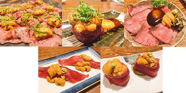 画像: ウニくローストビーフ(上左)、うにくユッケ(上中)うにく丼(上右) うにく寿司(下左)、うにく軍艦(下右)