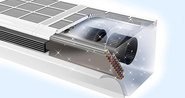 画像: 吸い込み口全てを覆う集じん脱臭フィルターと熱交換器吹き付け方式により、カビの原因となるホコリと湿度に対策を強化。 jp.sharp