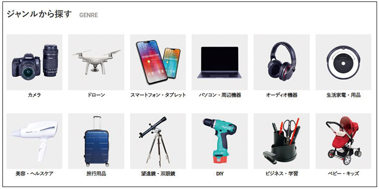 画像: カメラ、生活家電・用品、美容・ヘルスケア家電、旅行用品、ベビー・キッズ用品、スマホ・タブレットなど幅広い商品をレンタル可能。