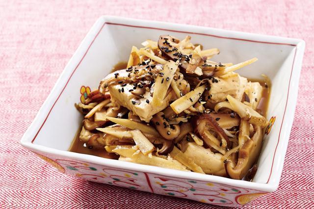 画像: 干しシイタケスープ活用レシピ 干しシイタケとゴボウの炒り豆腐