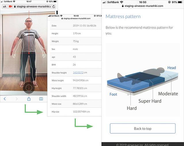 画像: スマホで撮影した写真を送信し、それを基に肩やウエスト、ヒップまでの高さ(身長)などを解析。体型に合う「 エアウィーヴ S-LINE 」を試用させてもらった。