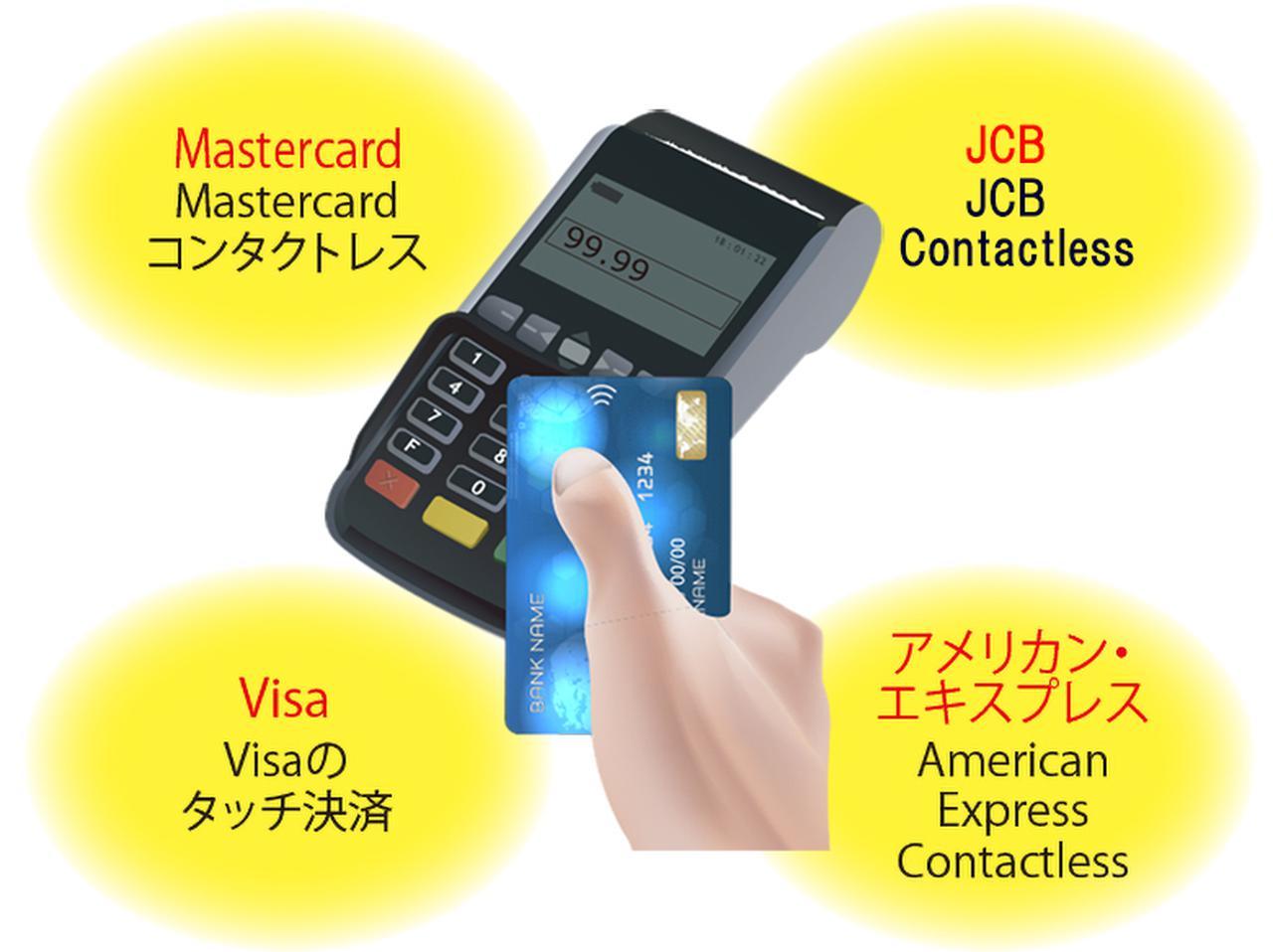 画像: 主要なカード会社はコンタクトレス決済導入済み