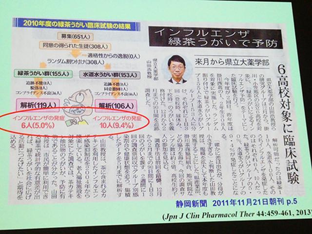 画像: 「緑茶うがいとインフルエンザ」の研究内容が紹介された新聞記事(静岡新聞)。