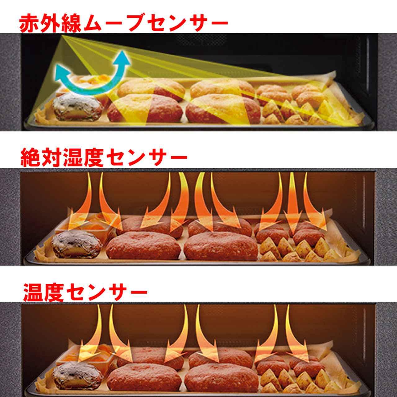 画像: 人気機能「まかせて調理」 では、過熱水蒸気の特性に「赤外線ムーブセンサー」「温度センサー」などをプラス。ボタン一つで、ムラを抑えて程良く焼き上げることが可能。