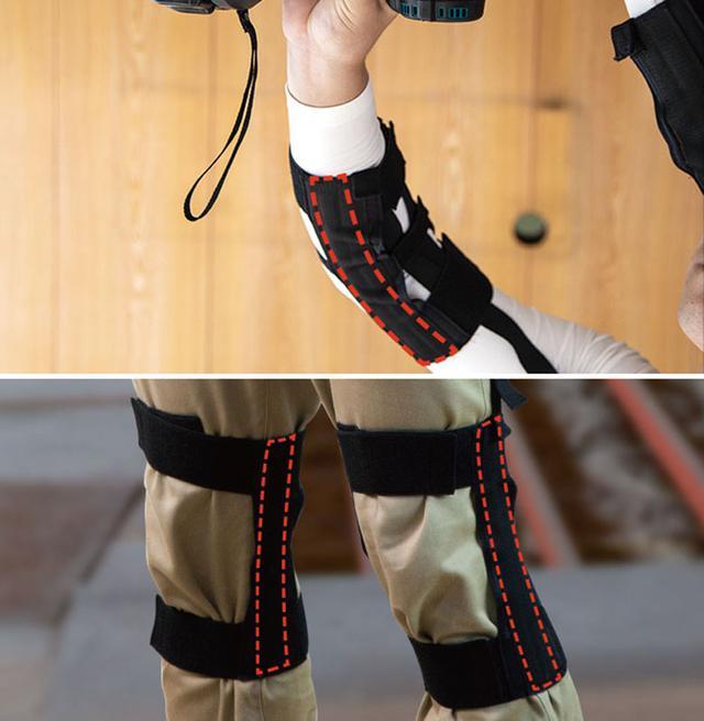 画像: 肘部にあるバネの力で上腕二頭筋をサポート(写真上)。膝用(写真下)は膝にバネが入っている状態になるので、歩行運動もアシスト。