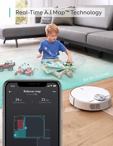 画像: A.I Mapテクノロジーを搭載。リアルタイムに部屋の形をマッピングし、自ら経路を設計し掃除を行う。集中的に掃除したいエリアや、進入禁止エリアなども指定できる。