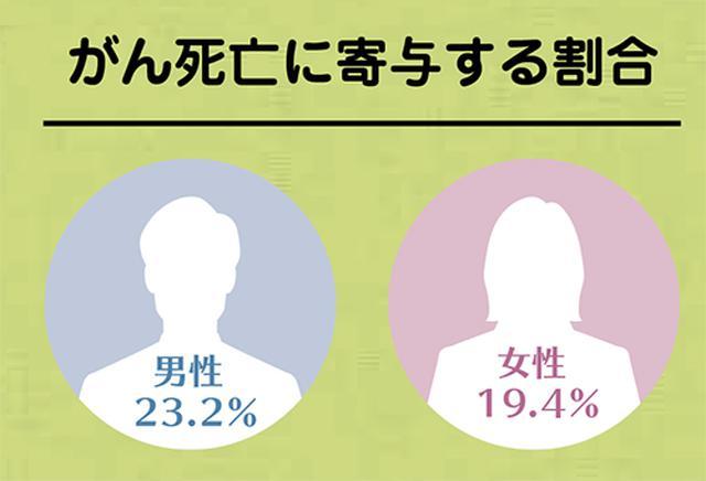 画像: がん死亡に寄与する割合は、男性23.2%、女性19.4%。