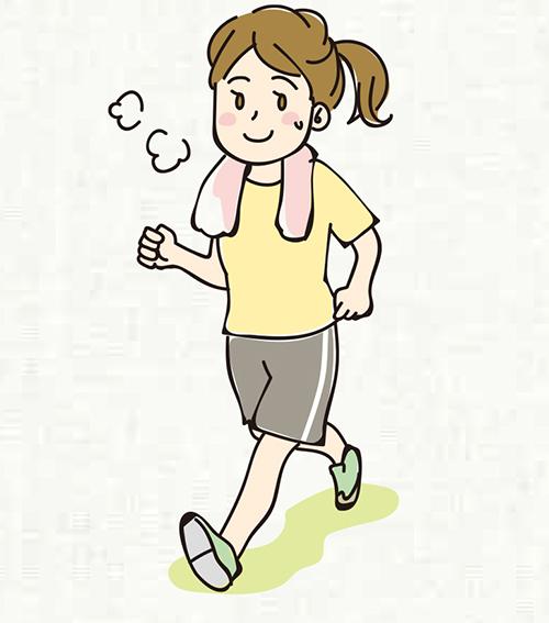 画像: 歩行またはそれと同等の強度の身体活動を1日60分、汗をかく程度の運動を1週間に60分が目標。
