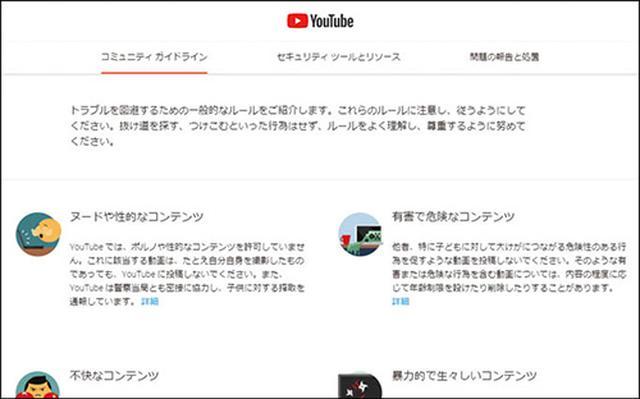 画像: 「コミュニティガイドライン」のページには、どんなものが不適切な動画なのか、わかりやすくまとめられている。
