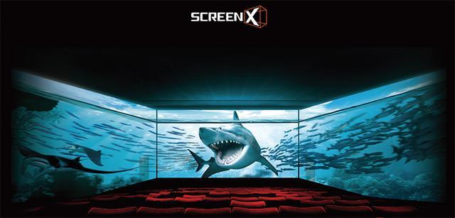 画像: スクリーンXのイメージ写真 左右の壁には、それぞれ逆側の壁面に設置されたプロジェクターから映写を行う。なお、SCREEN Xは、現状、3D作品には対応していない。