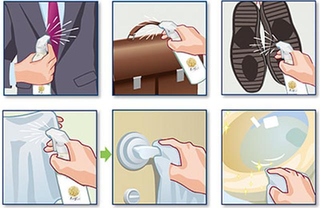 画像: 衣類やバッグ、靴などには直接スプレーする(上段)。ドアノブや便器などの場合は、ティッシュや布、紙タオルなどに含ませてから拭き伸ばすといい(下段)。