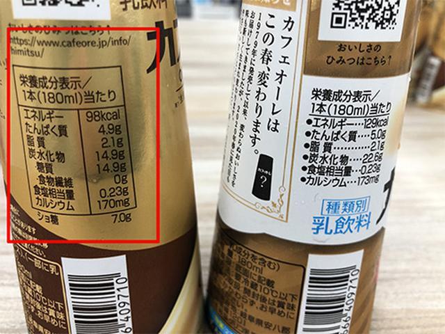 画像: 左が新パッケージ、右が旧パッケージの成分表示。