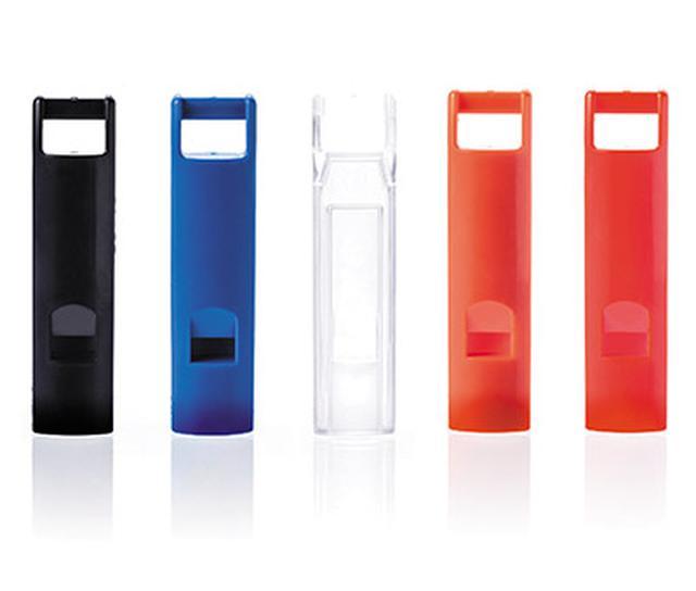 画像: 蓄光なしタイプもある。カラーは、ブラック、ブルー、クリア、オレンジ、レッドの5色。