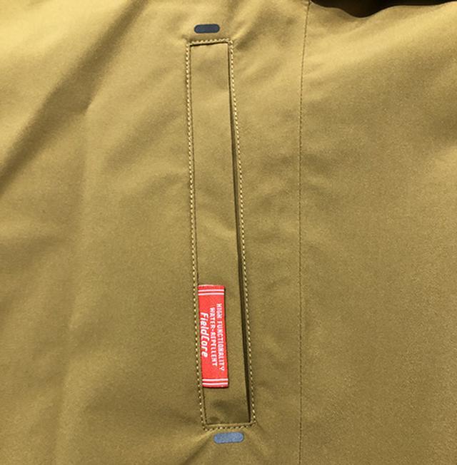 画像: ポケット口の上下や肩部分にも転写加工有り。