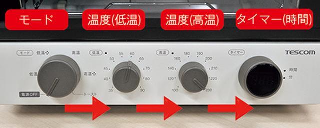 画像: 左からモード、温度(低温/高温)、時間。この順でダイヤルを操作する。