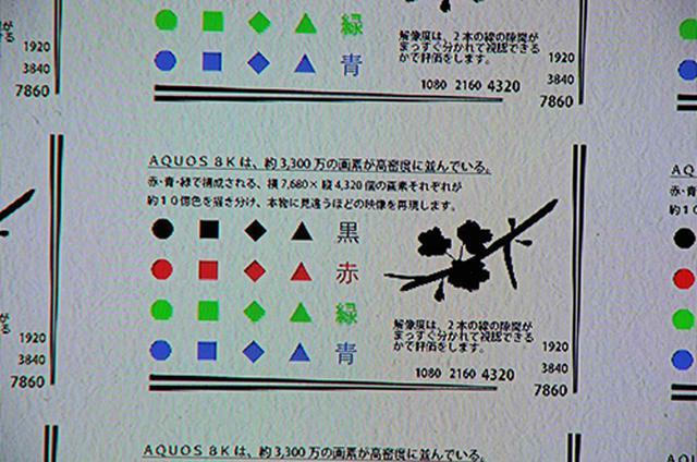 画像: 同じチャートを4Kパネルで表示した拡大映像。文字が粗くなり、斜め線にはジャギーも生じている。