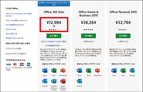 画像: 個人向けでは、年間1万2984円または月額1284円の「Office 365 Solo」が、OneDriveの容量1Tバイトなども付いて、お得感がある。