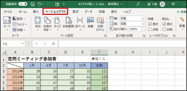 画像: ❶ 見栄えをよくしたい 表を開いて 、画面の上部で「 ページレイアウト 」タブを選ぶ。