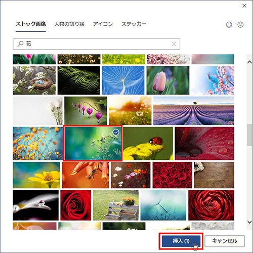 画像2: 自前の写真がないときはワードに用意された画像を使う