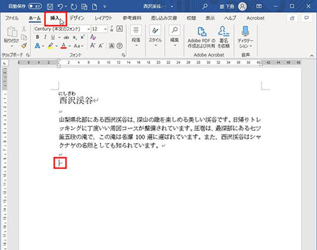画像1: パソコン内の写真をワードの文書に挿入する