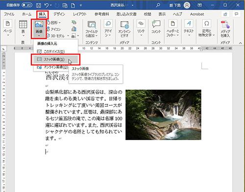 画像1: 自前の写真がないときはワードに用意された画像を使う