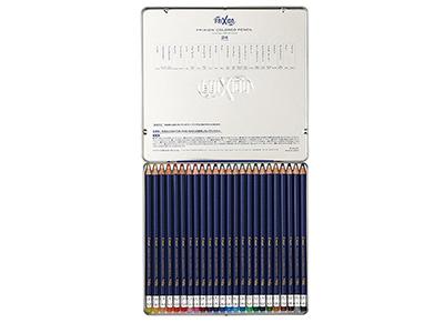画像: こするだけで消せる!消しゴムいらず24色セット。おなじみのフリクションインキを使用。摩擦熱で消えるので消しゴムのカスで机が汚れることがない。通常の色鉛筆と同様に木軸なので削って使う。