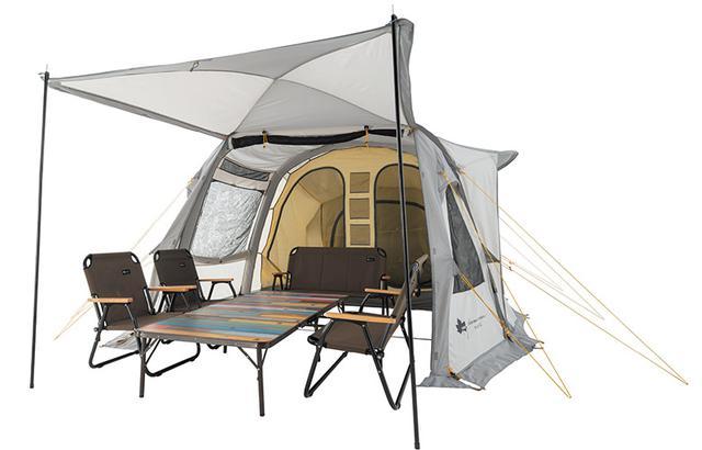 画像: テントの前面に「パネルシステム」を採用。X字にフレームが入っており、跳ね上げることでリビング空間を広げることができる。
