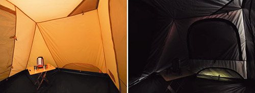 画像: 通常のテント(左)と比べると、テント内は真っ暗。早朝のまぶしい光に起こされることもなく、ゆっくりと安眠できる。