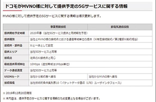 画像: ドコモはウエブサイト上で、MVNOに対して2020年春から5Gサービスを提供することを明記している。