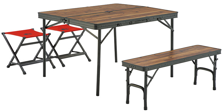 画像: 2脚のチェアとベンチをすっきりと収納できるテーブルセット