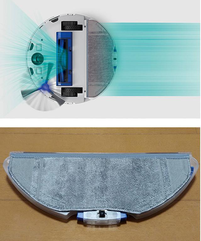 画像: モップ機能を装備。ゴミを吸引しながら拭けるほか、水拭きのみも可能。モップ禁止エリアはスマホで指定可能。