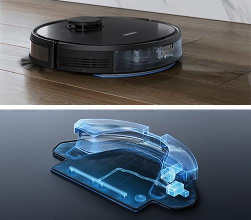 画像: 給水タンクの水をポンプで吸い上げる独自のOZMOシステムを搭載。水量を制御しながら本格的な水拭きを行う。