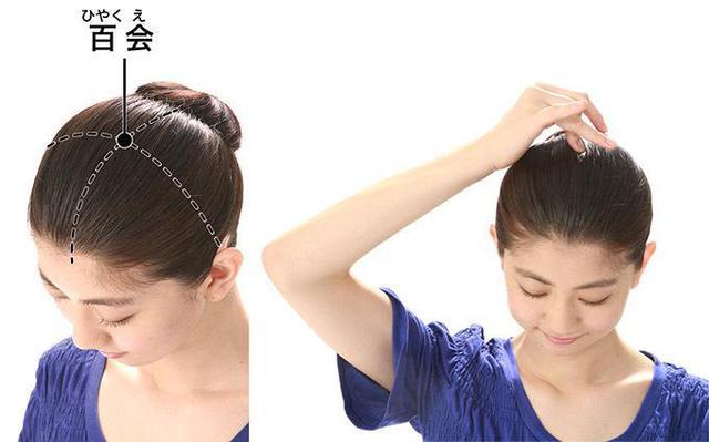 画像: 頭のてっぺん周辺を触り、最も痛いところを押す。