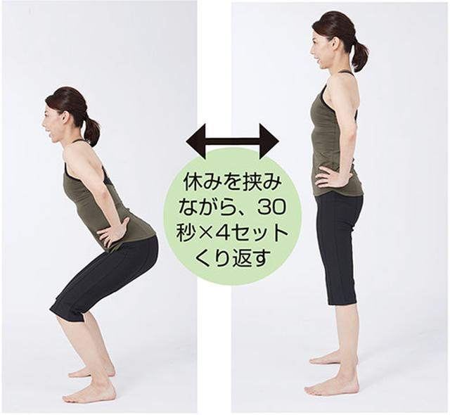 画像: お尻を後ろに突き出しながらゆっくりひざを曲げる。素早く立ち上がり、ひざを伸ばし切る