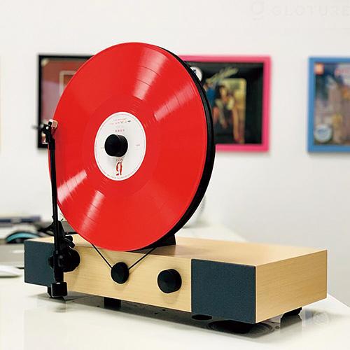 画像2: 【 レコードプレーヤー】盤面がほぼ垂直!省スペースを実現したユニークな設計