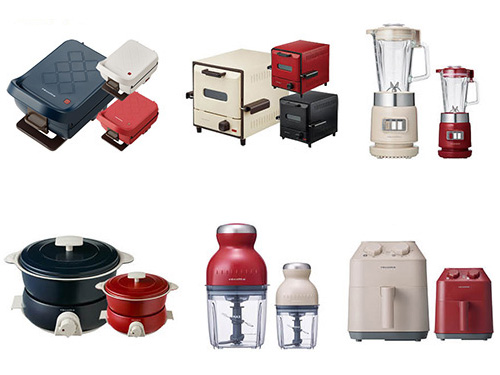 画像: (上段:左から)プレスサンドメーカー プラッド、スライドラックオーブン デリカ、ガラスブレンダー リコ、 (下段:左から)ポットデュオ フェット、カプセルカッター ボンヌ、エアーオーブン