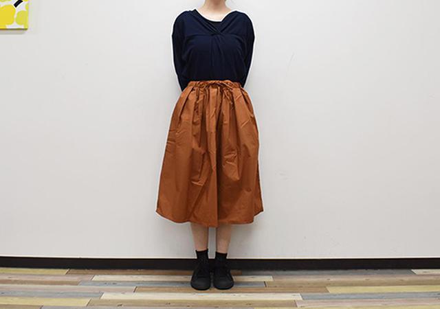 画像: ウエストゴムで履きやすい「綿混ダンプイージーギャザースカート」