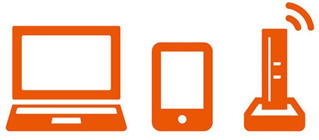 画像: 左からパソコン、スマホ、ルーター
