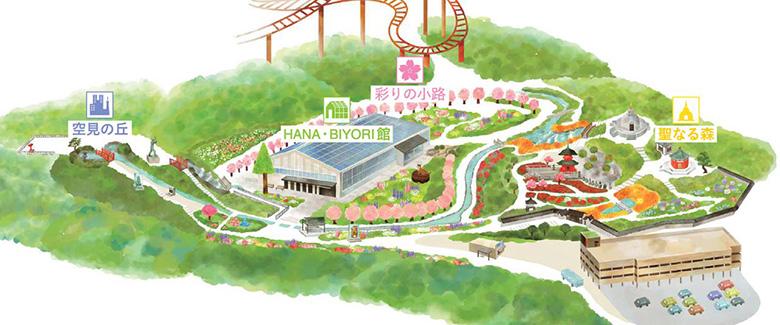 画像: HANA・BIYORIエリアマップ www.yomiuriland.com