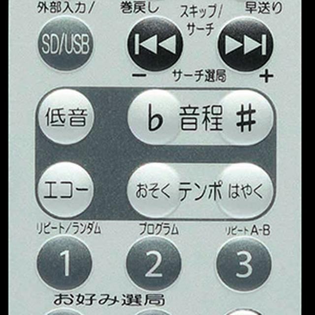 画像: CDX-91のリモコンの一部。音程とテンポのコントロールが可能なので、カラオケなどに便利。