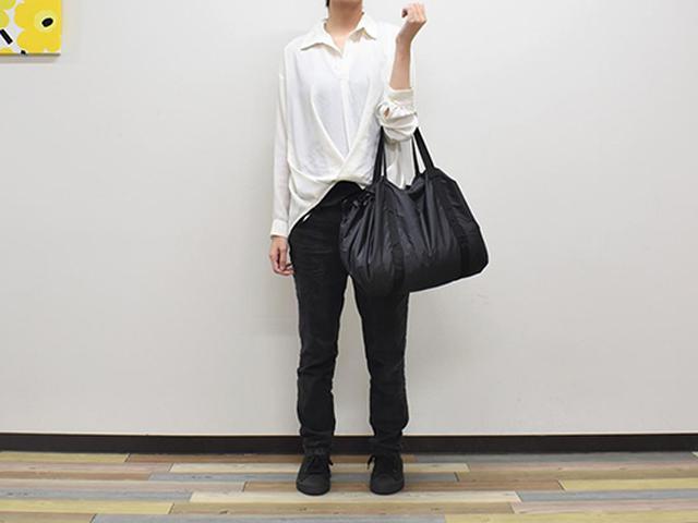 画像: たくさん買いたいときに便利な「絞るだけで包めるポケッタブルバッグ」