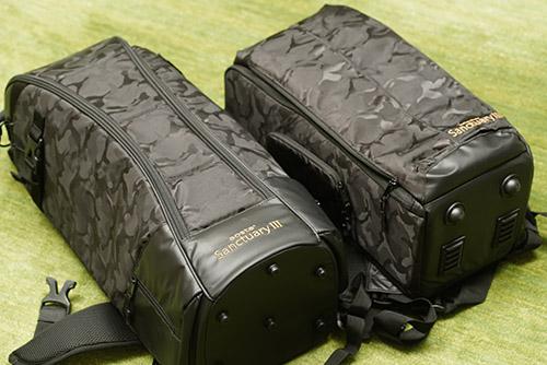 画像: Kenko aosta SanctuaryⅢ RK650(写真:左)、600mmF4クラス専用のカメラバッグと並べたSanctuary III RK260(写真:右)。大きさが完全にひとまわり違います。