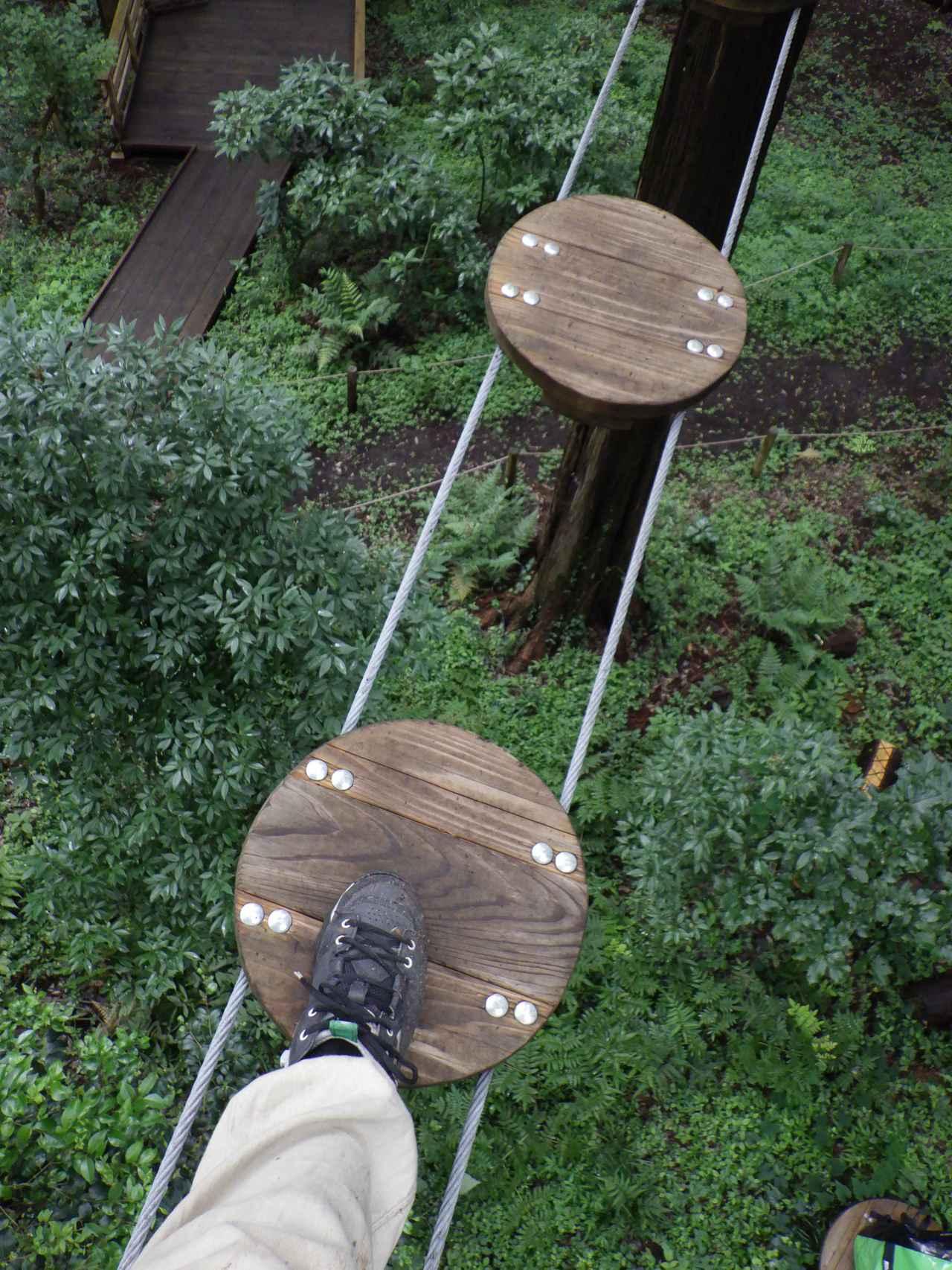 画像: ゆらゆら揺れる板の上を移動している自分の足