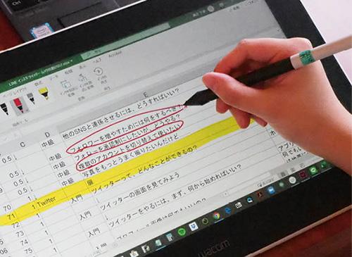 画像: あとはスタイラスペンで画面上に書き込むだけ。赤ペンで注意事項を、特に強調したい部分には傾向マーカーなど、使い方は自由自在だ。