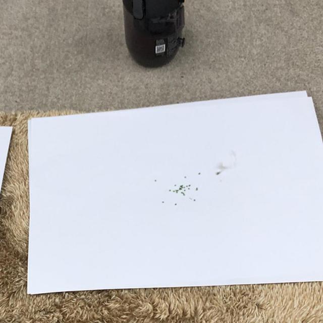 画像: 従来品で掃除したあとに、新製品が吸い取ったビーズ。掃除力アップが示された